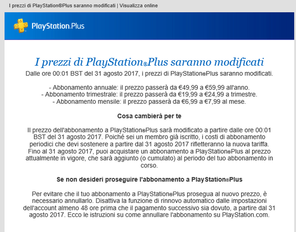 PSN Aumento prezzi 2017
