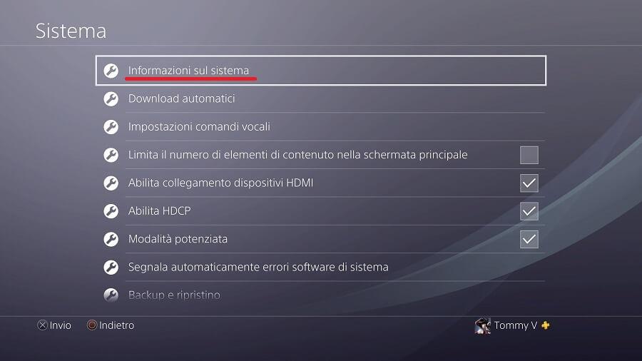 Informazioni sul sistema PS4