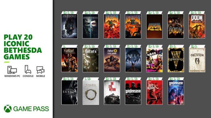 Bethesda 20 titoli Xbox Game Pass
