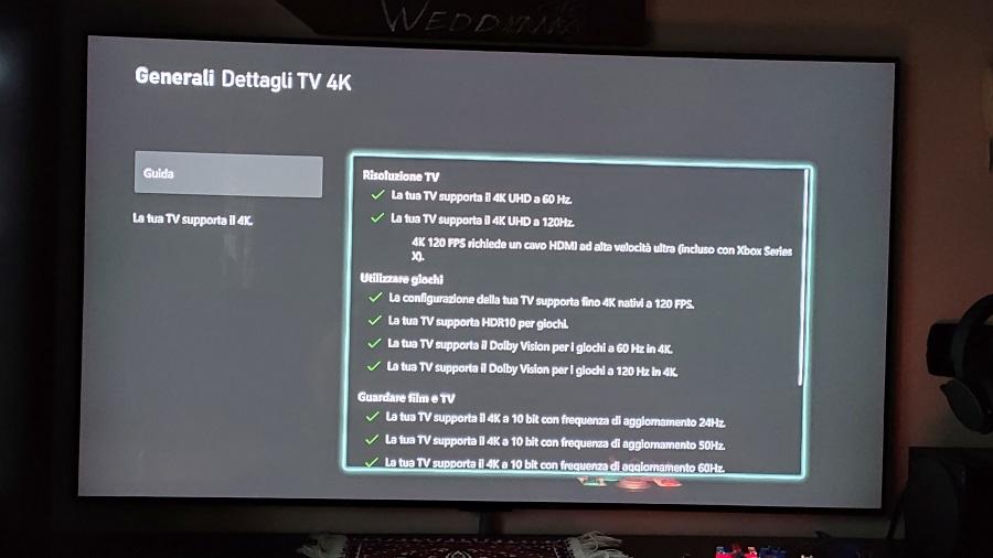 LG 4k 120 hz Spunte verdi su Xbox series X